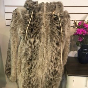 Vintage Faux Fur Hooded Coat Size 14 NWT